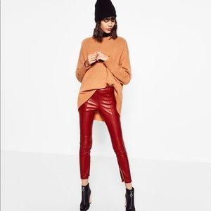Zara High Waisted Faux Red Leather Leggings XS